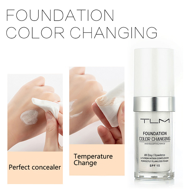30ml TLM Magic Color Changing Foundation Oil-control Face Cover Concealer Makeup Liquid Hydrating Long Lasting Tone Foundation 4