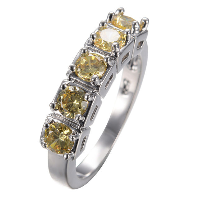 Size 678910 Jewelry Women Yellow Stone Wedding Band Ring Anel