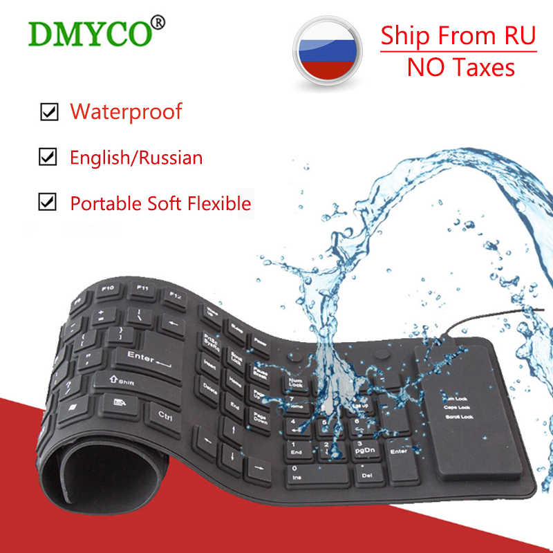 Russian Keyboard Ultra Slim Mute USB Keyboard Mini foldable PC Keyboard for  Mac Windows XP 8 7 10 Vista Android TV Box laptop PC