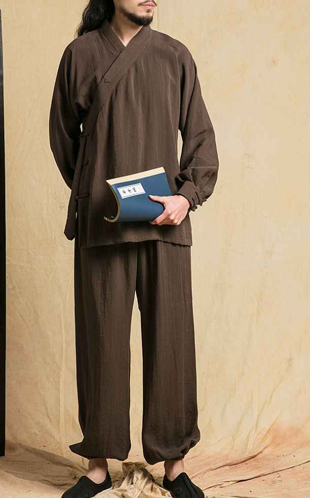 Zwart/koffie/blauw/grijs katoen & linnen shaolin monnik kung fu kleding Lag zen uniformen hanfu suits vechtsporten yoga wushu kleding