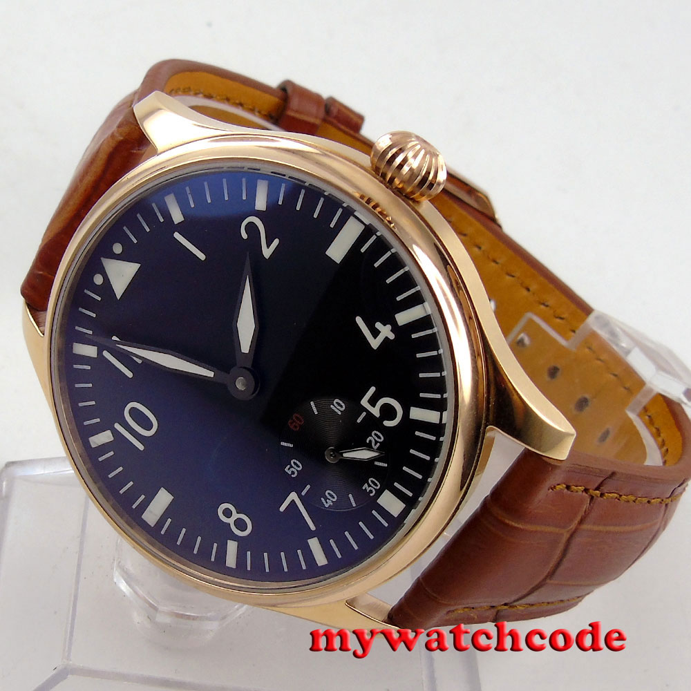 44mm parnis black dail 6498 movement hand winding brown leather mens watch P252 цена и фото