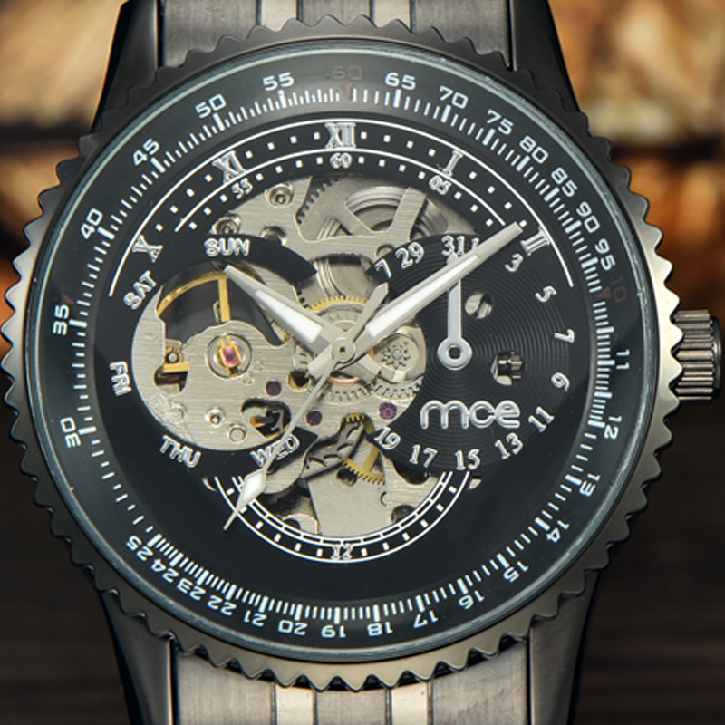 где купить MCE Brand Watches Men 2017 New Dress Fashion Skeleton Clock Style Black Stainless Steel Band Automatic Mechnical Mens Watch 348 по лучшей цене