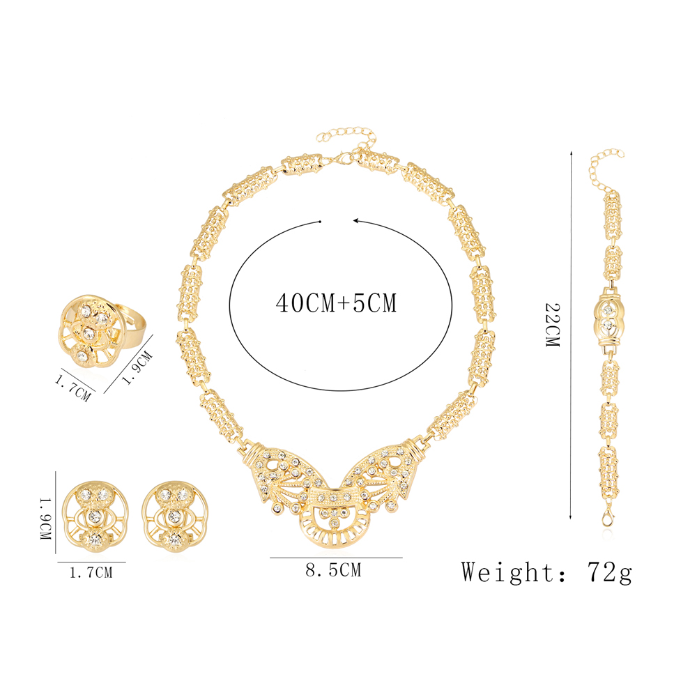 danbihuabi Jewelry Sets For Women Party Crystal Wedding Bridal Accessories African Beads Necklace Earrings Bracelet Rings Set