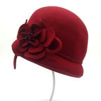 QPALCR Elegant Ladies Wool Felt Bowler Fedora Hats Floral Bowler Trilby Hats Winter Women Church Cloche Hat