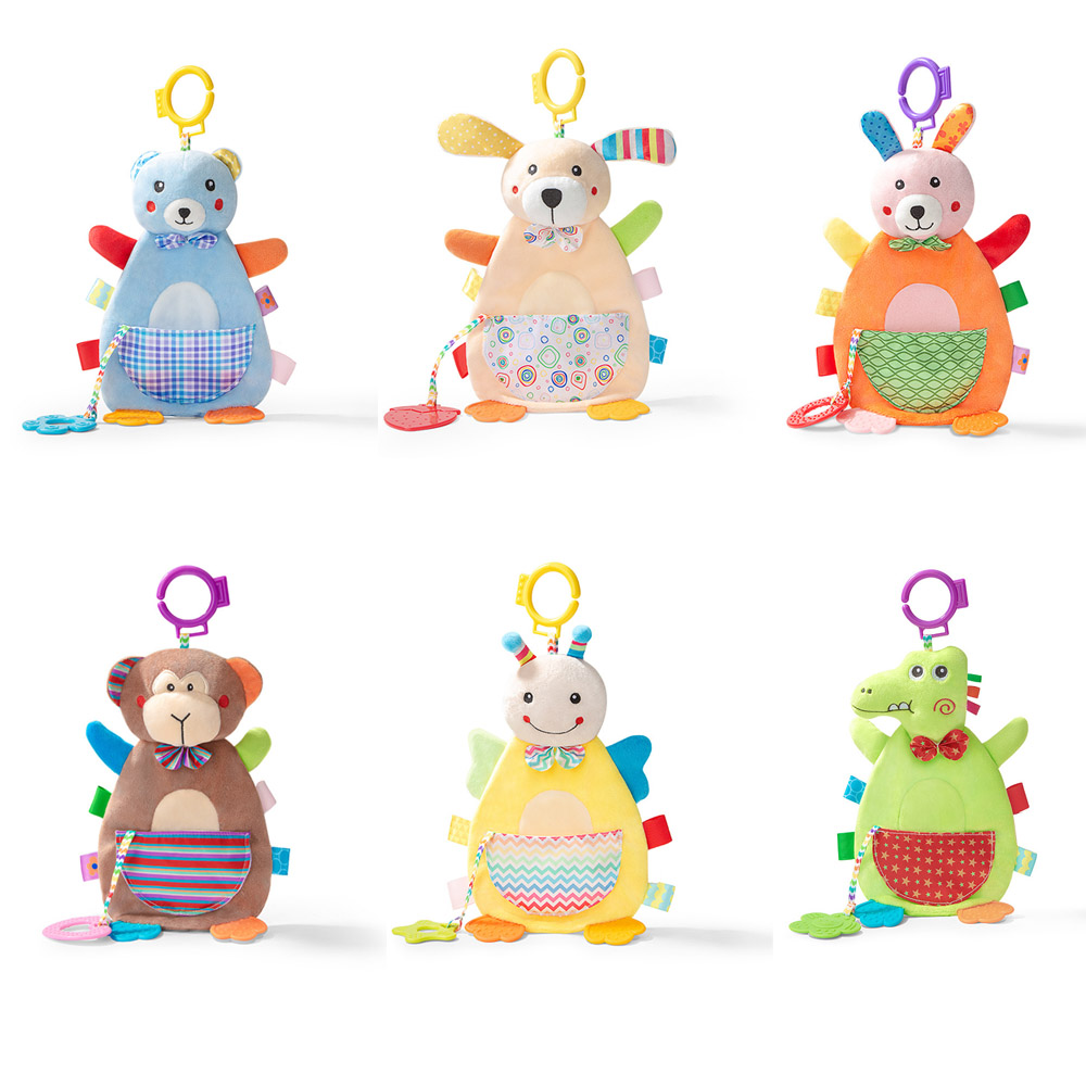 44*20cm Animal Appease Towel Cotton  Cartoon  Baby Appease Towel Rattle Bed Hanging Baby Soft Teether Molars Doll New