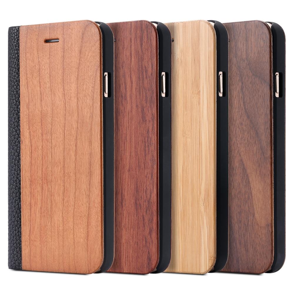 1531dfcd22b Cheap Funda abatible de cuero de lujo Retro + madera de bambú para Apple  iPhone 6