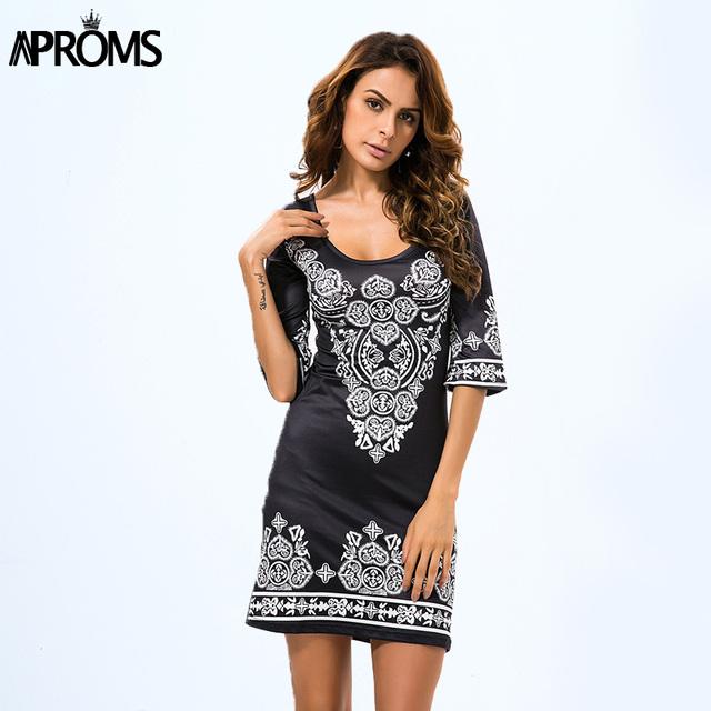 Aproms boho étnico africano negro bodycon dress otoño de las mujeres ocasionales vestidos de impresión tamaño grande loose dress del partido de tarde 10846