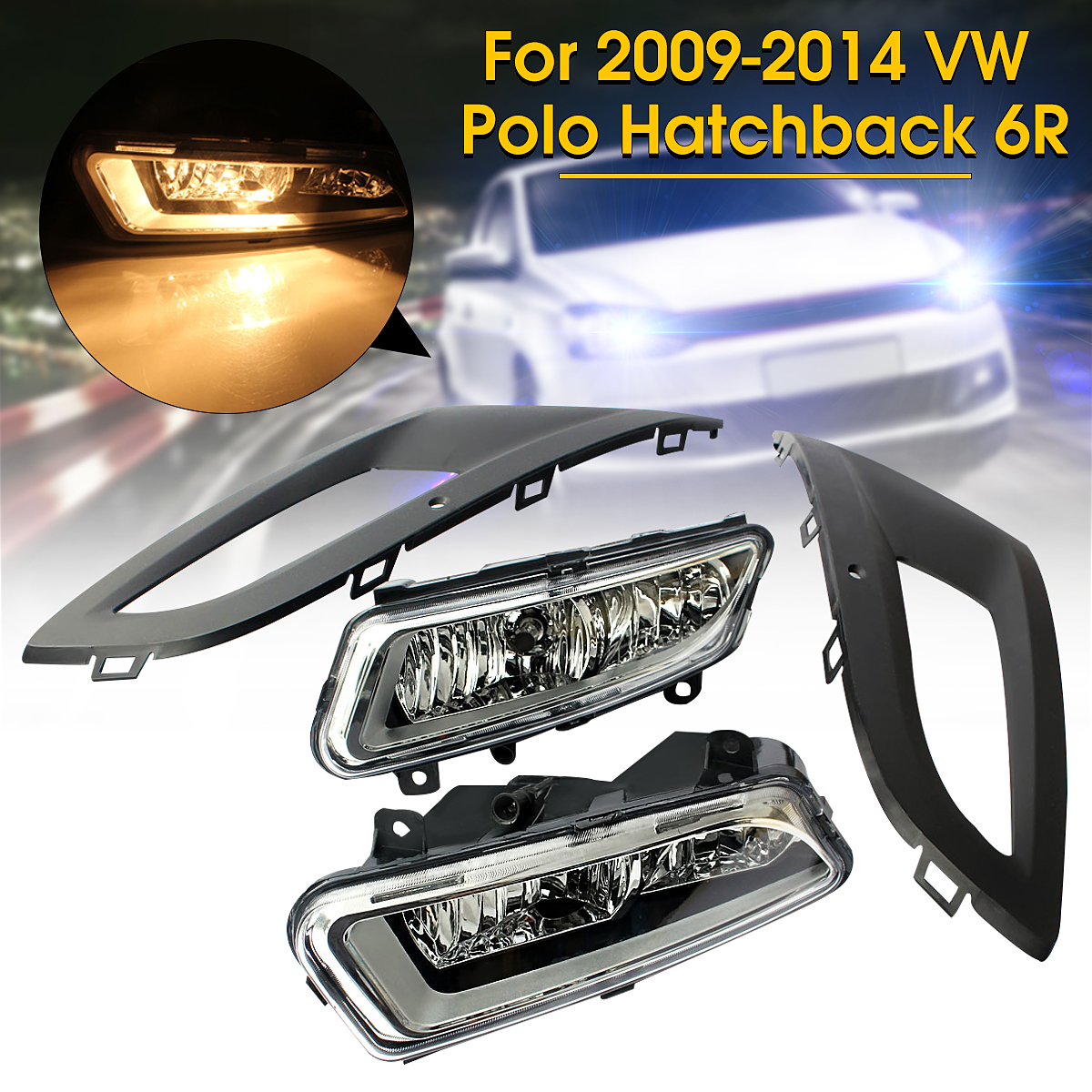 2Pcs Car Front Left Right Fog Light H11 Lights Bulbs Foglamps Bumper Grill Lower Grille Cover for VW Polo Hatchback 6R 2009-2014 12v car light front bumper grilles lamp fog light for volkswagen vw polo hatchback 6r 2009 2014 car styling