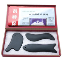 100% Natural black bian stone body face Massager Gua sha scrape guasha plate acupoint massage 0025