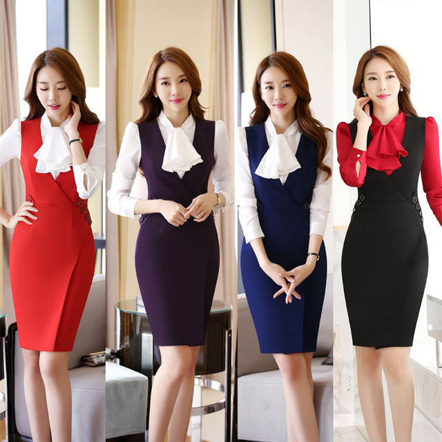 Plus Size 4XL Slim Fashion Dress Suits With Blouse And Dress For Ladies  Office Work Wear f1361ff4d