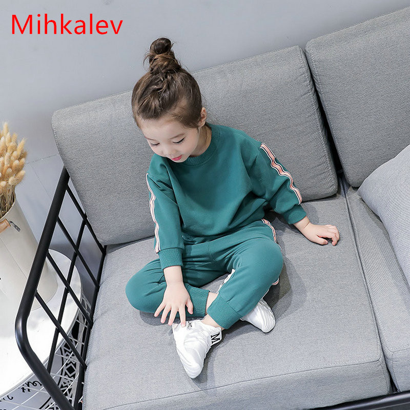 Mihkalev Active Cotton baby girl clothes set for kids 2pcs sport suit tshirt and pants children long sleeve sets girls tracksuit v tree girls sport suit clothing set for girl autumn kids tracksuit long sleeve shirt pants children clothes sets 3 12 years