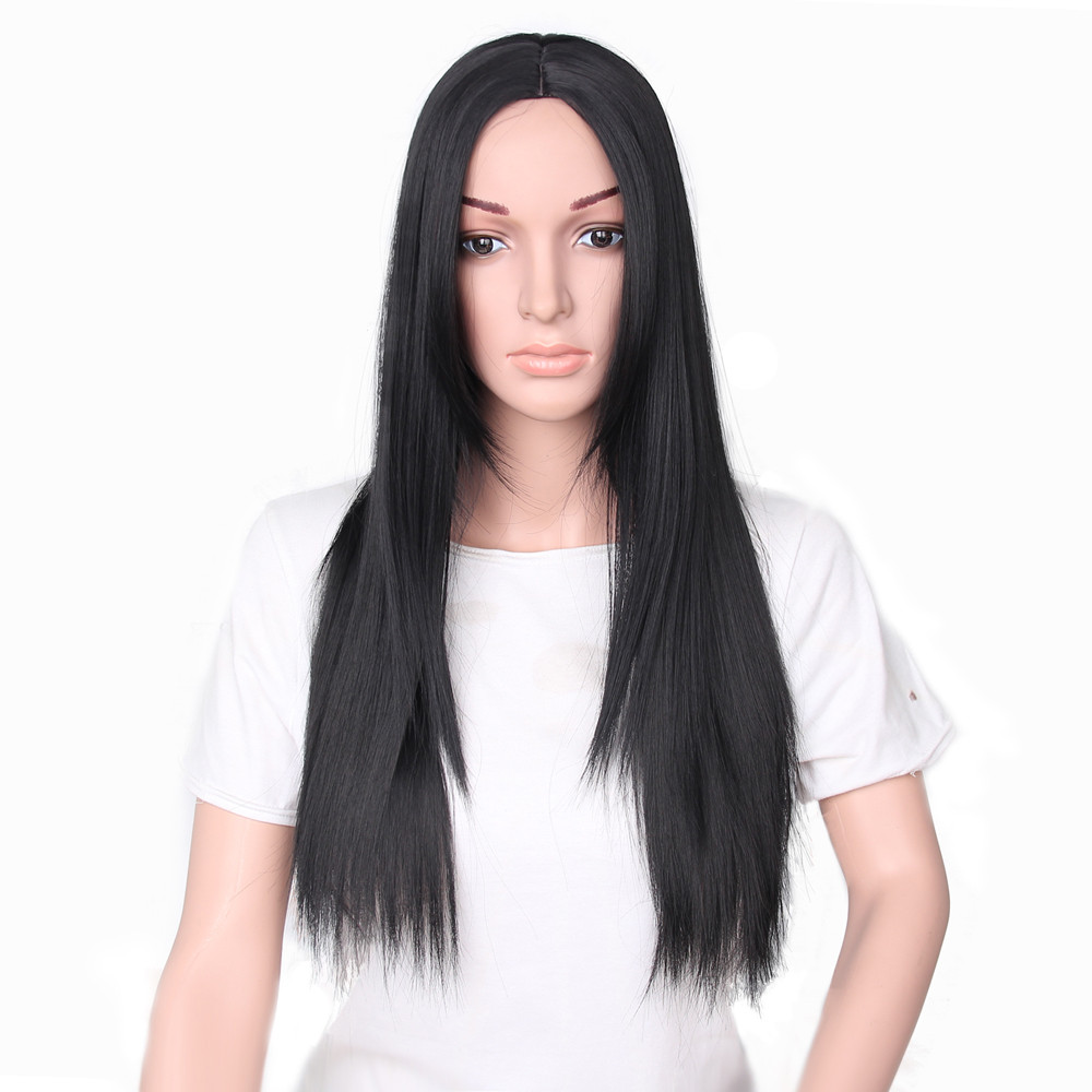 Factory price 1Pcs Black Women Fashion Lady Long Straight Neat Middle Part Hair Cosplay Party Wig Wigs Stand May11 HW ...