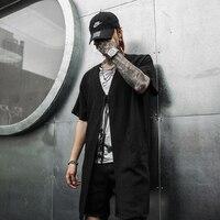 Summer Short sleeve Linen shirts collarless for men Loose Black color V neck Big pockets Punk style