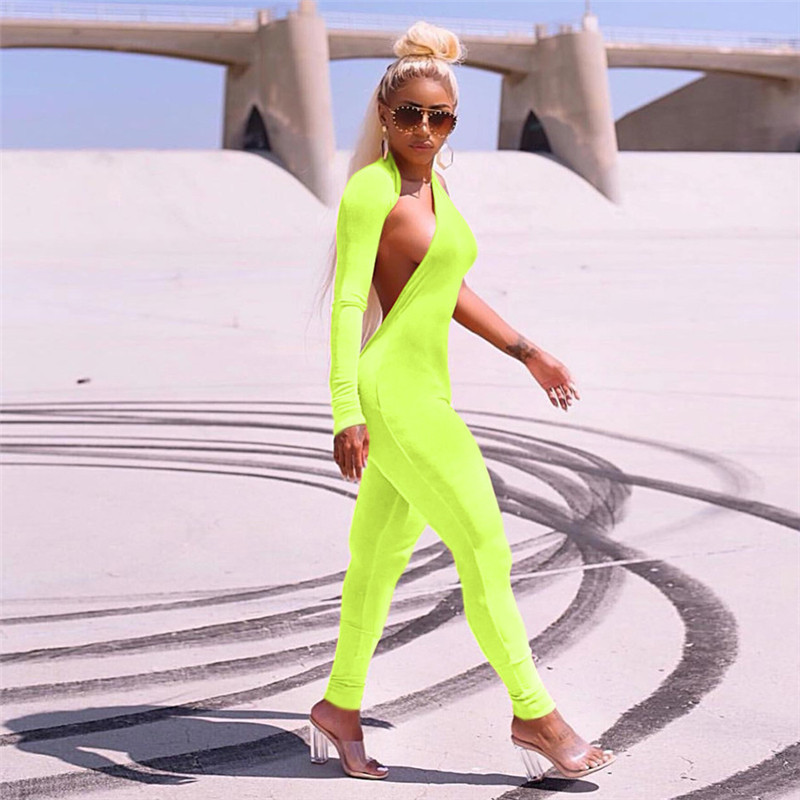 ZHYMIHRET Autumn Winter Neon Color One Shoulder Halter   Jumpsuit   Women Rompers Skinny Long Sleeve Backless Overalls Sexy   Jumpsuit