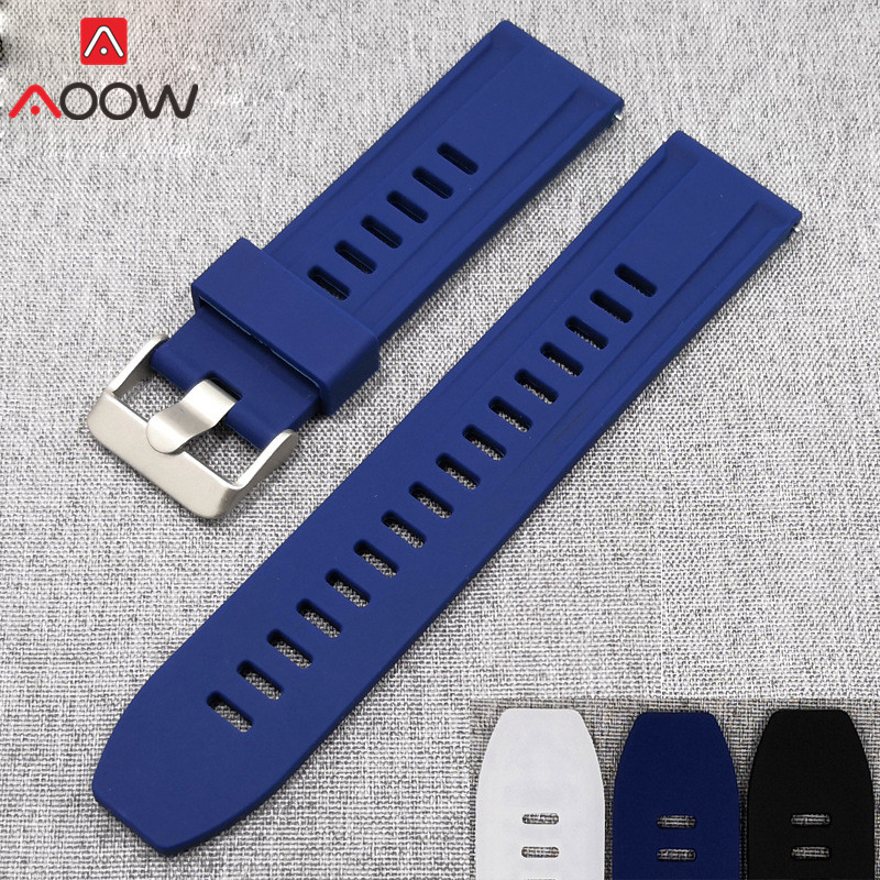 Universal Silicone Watchband 18mm 20mm 22mm 24mm For Samsung Galaxy Watch 42mm 46mm Quick Release Replace Bracelet Band Strap