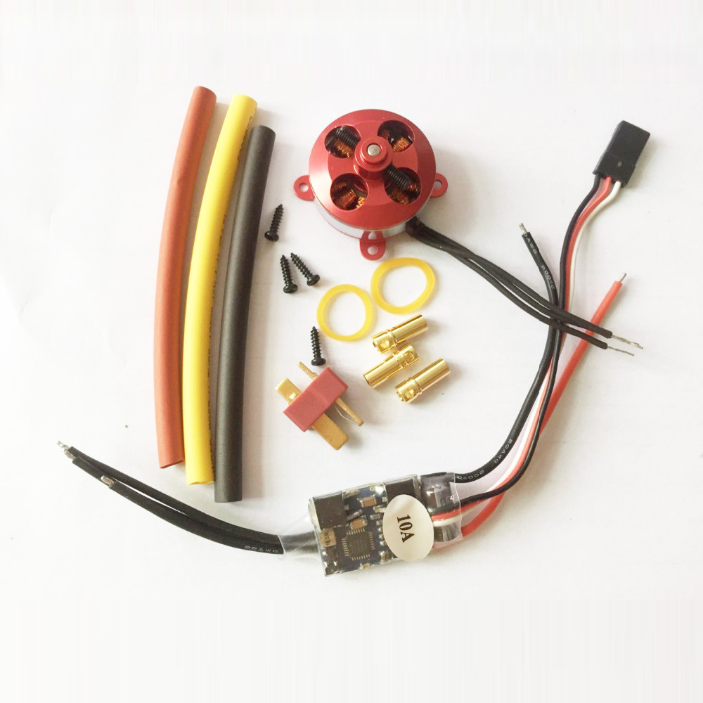 1set A2204 1400KV 7.5A 50W Micro Brushless Motor W/ Mount+10A ESC For RC Aircraft/KK copter Quadcopter UFO 4pcs 6215 170kv brushless outrunner motor with hv 80a esc 2055 propeller for rc aircraft plane multi copter