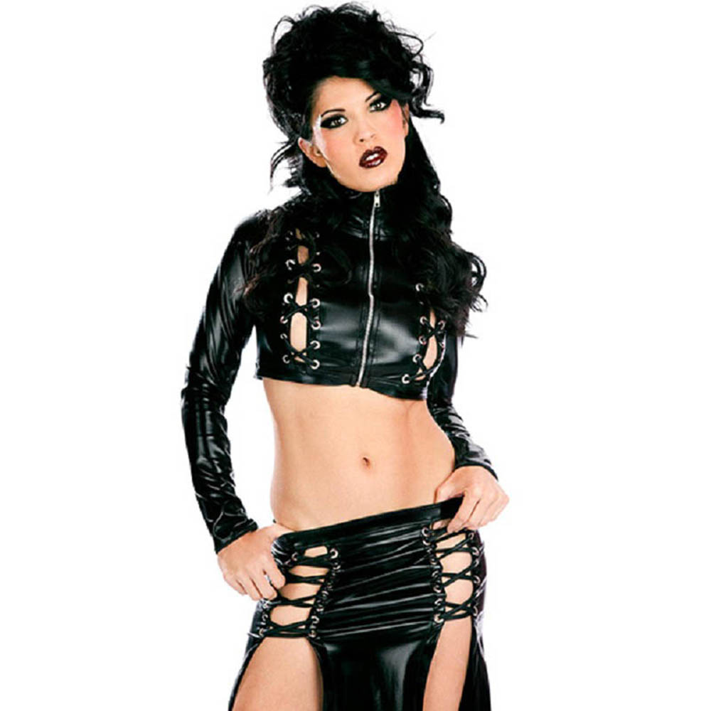 Gothic Sexy Ladies Wetlook Faux Leather Toxic Long Lace-up Clubwear Cocktail Night Dress Vinyl Set Sexy Stage Costume
