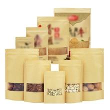 10pcs/lot Brown Gift Kraft Paper Bag Zip Lock Food Snack Tea Packing Retail Craft 4 Sizes Available