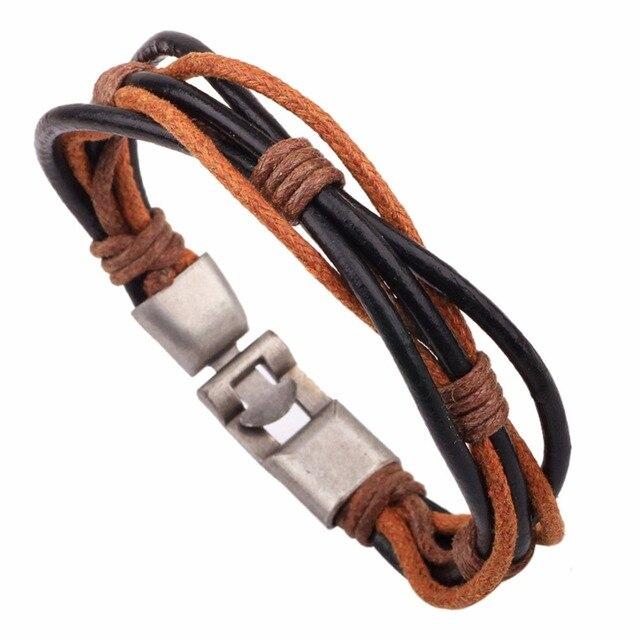 Druzy Personalized Men S Knotted Leather Bracelet Western Harmony Friendship Custom Handmade Jewelry Hippie