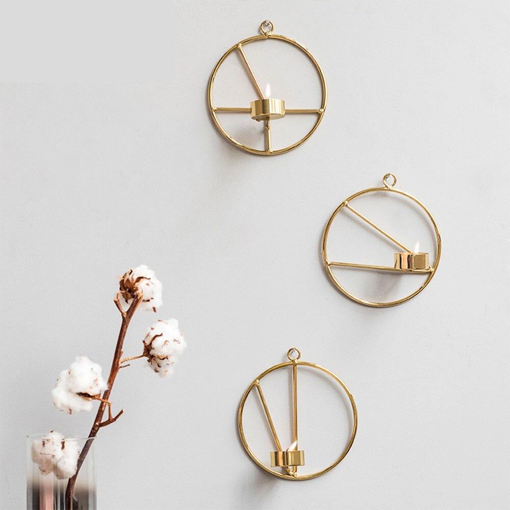 Goud Scandinavische Stijl Home Decoratie Kaars Houder Geometrische Kandelaar Metalen Muur Kandelaar Ornament Kroonluchter Gemakkelijk Te Smeren