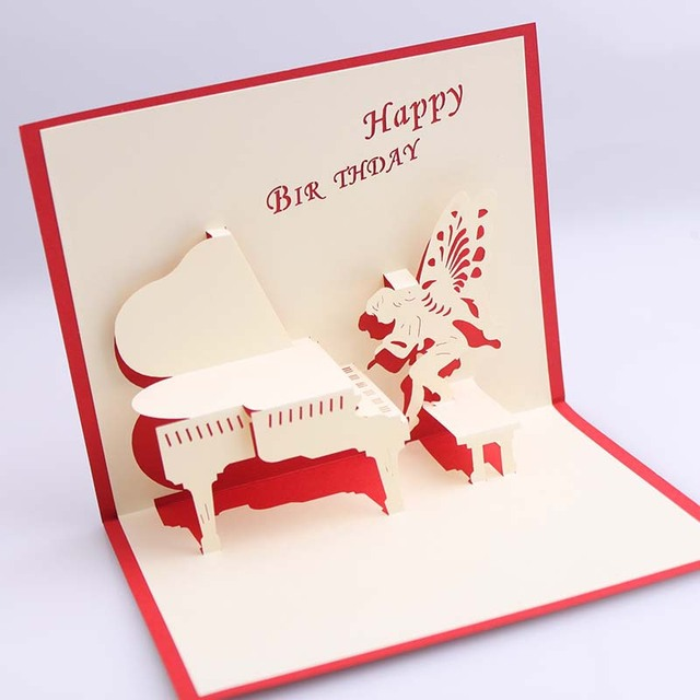 Handmade 3d pop up birthday greeting cards with piano angel free handmade 3d pop up birthday greeting cards with piano angel free shipping set of 10 m4hsunfo