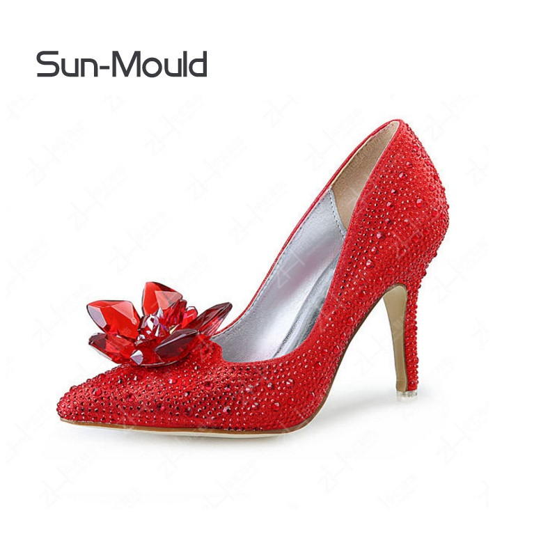RED Rhinestone crystal shoes flower clips High Heels sandal flats woman Pumps Wedding Shoes charms flower clips 1pair/lot