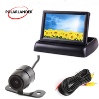 Car Reverse Rearview Foldable for Camera DVD VCR 12V Auto Parking Rearview Backup 4.3 TFT Color LCD car Security Monitor