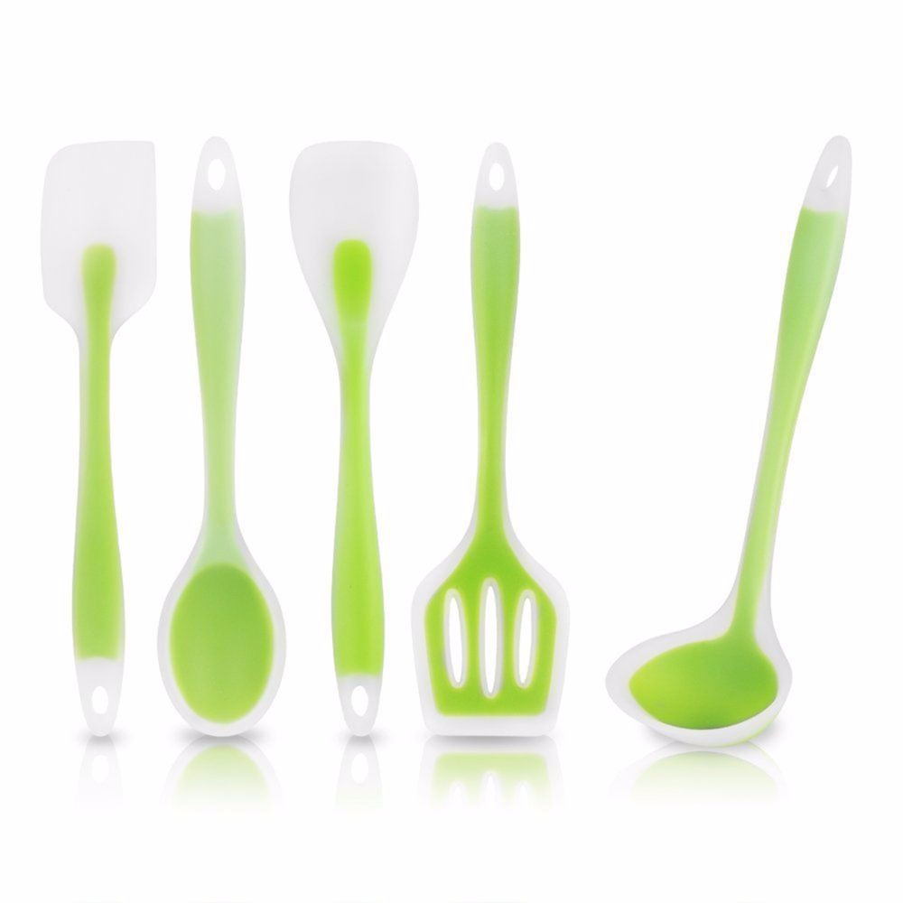 5pcs/Set Flexible Silicone Heat Resistant Spoon Fork Mat Rest Utensil Spatula Holder Kitchen Tool Sets
