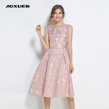 AOXUER Elegant Embroidery Jacquard Party Dress