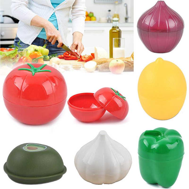 Bonito Cozinha Food Crisper Recipientes de Abacate Cebola Alho Vegetal Tomate Pimenta Verde Limão Fresco Caixa De Armazenamento Criativo