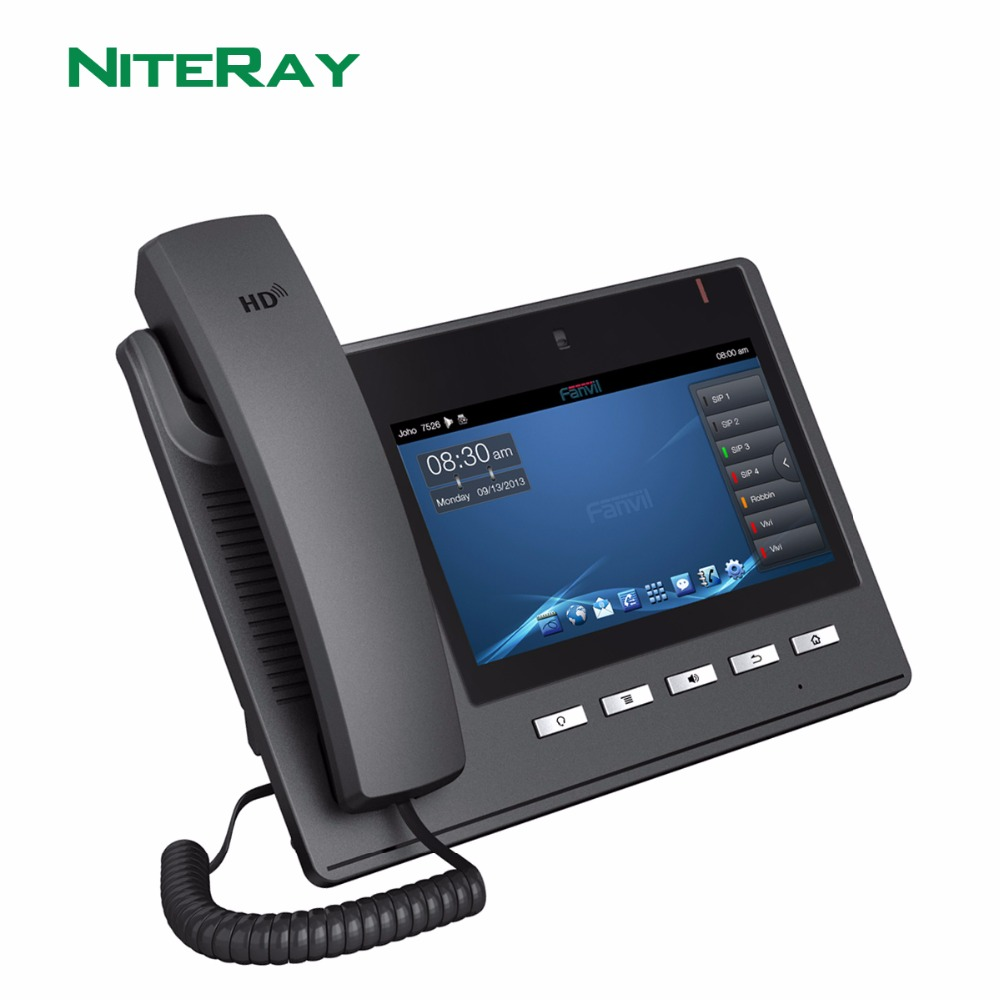 "Android 4.2 OS,6 SIP lines,sip/voip video ip phone with 7""TFT 800X480 touch screen support PoE"
