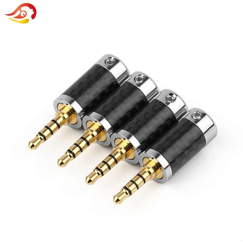 QYFANG 3.5mm 4 Pole Stereo Carbon Fiber Earphone Male Plug HiFi Headphone on
