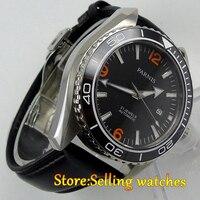Parnis watch 45mm black dial Ceramic Bezel Sapphire Glass 5ATM 21 jewels MIYOTA Automatic movement Men's watch