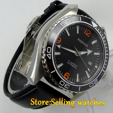 Parnis watch 45mm black dial Ceramic Bezel Sapphire Glass 5ATM 21 jewels MIYOTA Automatic movement Men's watch
