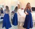 Nova chegada sexemara vestidos de noite longo 2016 de alta qualidade o pescoço a linha de cetim apliques baratos vestidos de noite formal galajurk