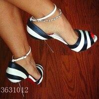 Hot Fashion White Black streak Peep Toe Women Pumps Metal Thin High Heels Sexy Women Ankle Strap sandals Wedding Shoes Woma
