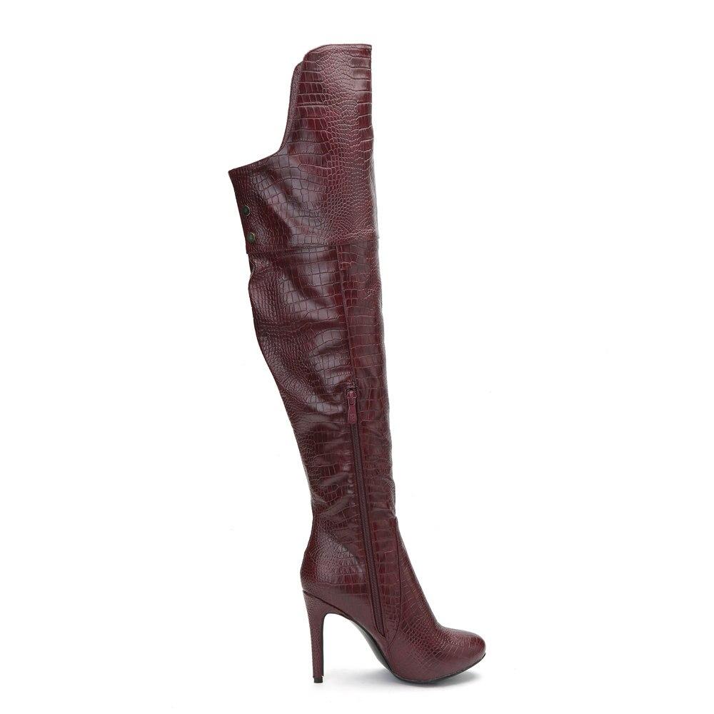 uu Yifsion Dedo Sobre Sexy Rojo Las Botas Tacón Nuevo Rodilla Red Redonda 4 Pie Ee D0286 Wine Mujeres Occidental La Invierno 15 De Aguja Tamaño Zapatos Del Vino rInxqrAwBT