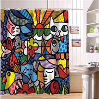 WJY510H24 Custom Art Do Romero Britto Fabric Modern Shower Curtain Bathroom Waterproof Free Shipping N24
