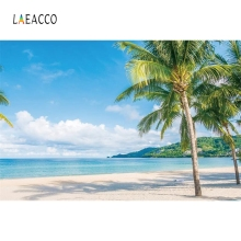 Laeacco Summer Beach Palm Tree Tropical Blue Sky White Clouds Photography Backgrounds Photographic Backdrops For Photo Studio