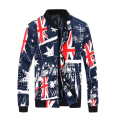 Fashion Denim Jackets Men Long Sleeve Yonago Flag Printed Coats 2016 Fashion Stand Collar Women Windbreaker Couple Clothes 2XL