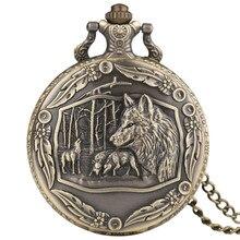 Бронзовый Большой Волк тема карманные часы для мужчин s Ретро Полный Охотник кварцевые часы с подвеской часы для мужчин и женщин рождественские подарки Reloj De Bolsillo