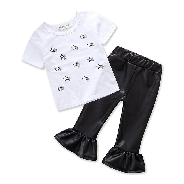 50c9877568c6 Baby Girls Summer daily Clothing Set Children White Printing Star printing T -shirt Black Leather Pants Fashion Kids Clothes Suit
