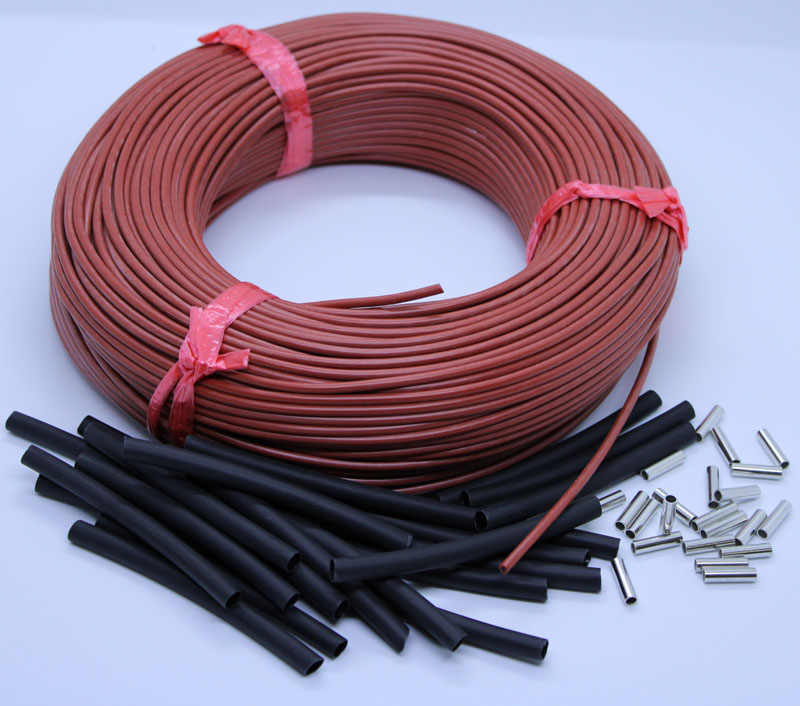 100m Red Silicone Rubber Far Infrared Warm Floor Room Thermostat Carbon Fiber Heating Cable 12K 33ohm