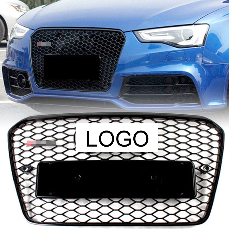 1Pcs Car Racing Grill For Audi A3 RS3 S3 Quattro 2013-2016 2015 Grille Emblems Radiator Chrome Front Bumper Modify Mesh Henycomb