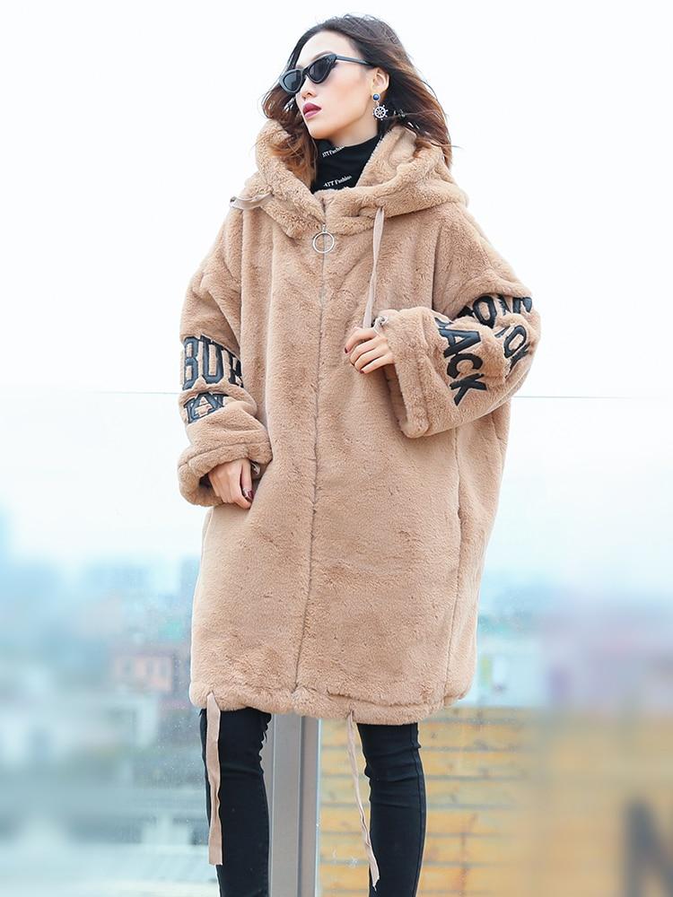 Hiver Automne À Noir Femmes champagne Coton Vêtements Taille Grande Nouvelle Noir Manteau Peluche En 2018 Lâche Chaud Et Chargé Long Épais Capuchon 55HUZnrFq