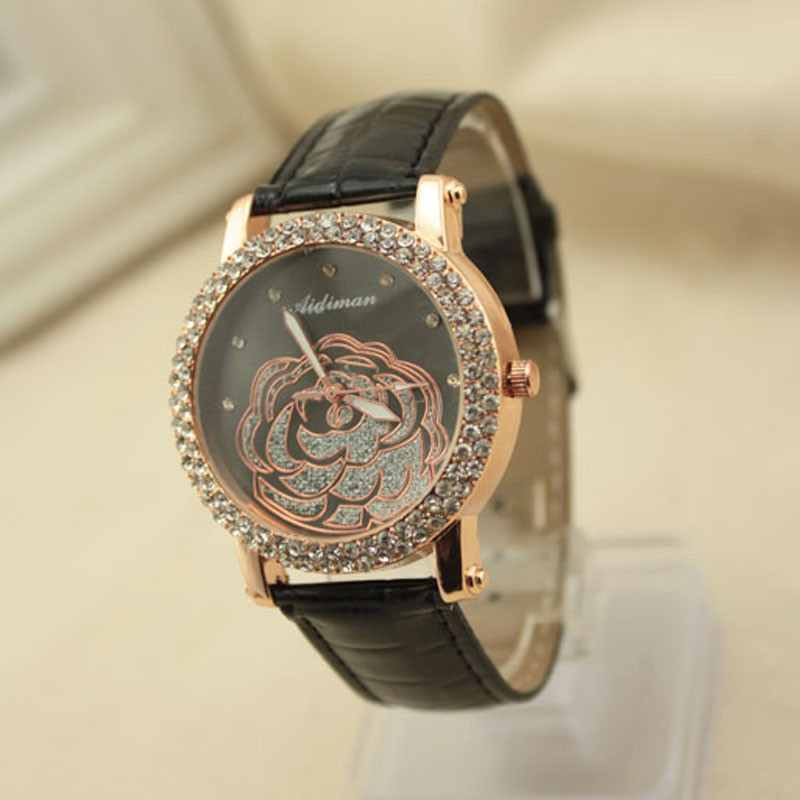 New Watches Women Camellia Dial Leather Strap Rhine