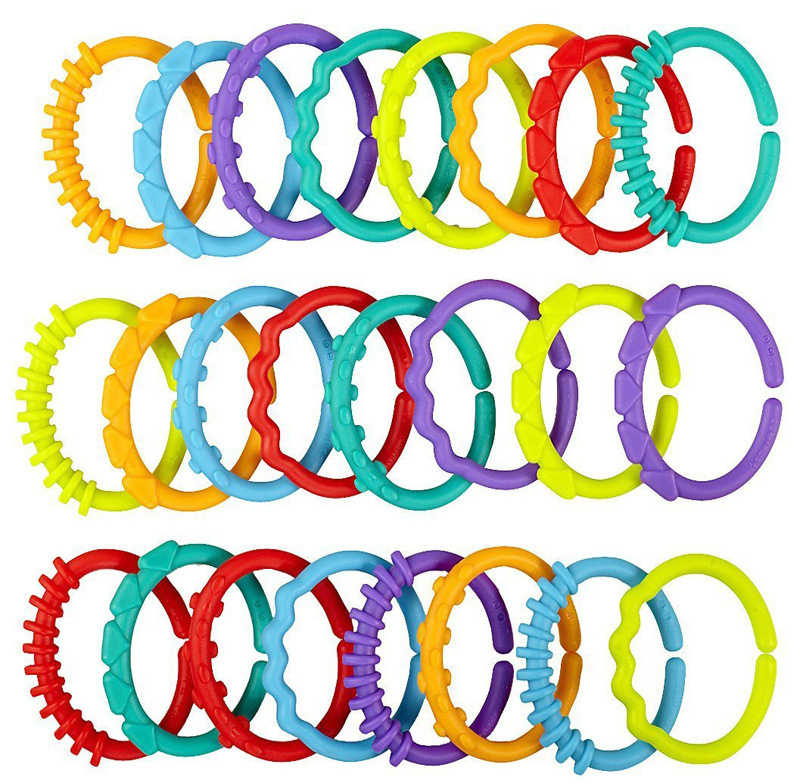 24Pcs/Set Cute Colorful Rainbow Rings Baby Teether Toy Crib Bed Stroller Hanging Rattles Toy Decoration Educational Gift Doll