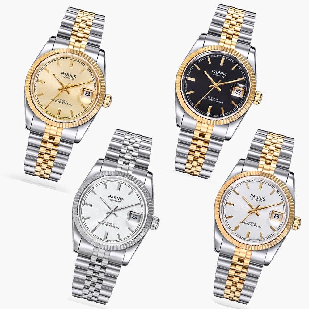 36 мм Парнис Золотой циферблат 21 jewels miyota световой Маркс автоматические женские часы 111