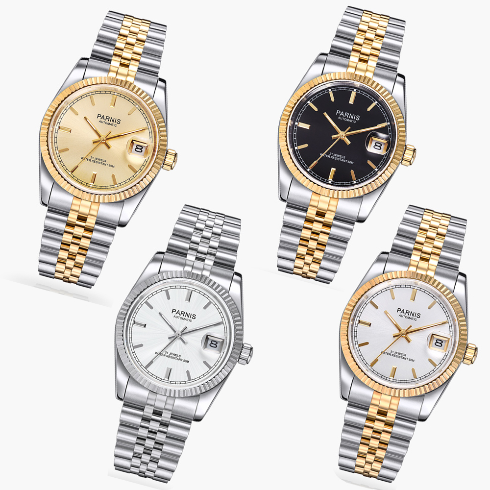36mm parnis golden dial 21 jewels miyota luminous marks automatic womens watch 111 цена