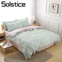 Solstice Home Textile 3 4Pcs Duvet Comforter Cover Pillowcase Flat Sheet Girl Kid Child Bedding Linens Set Light Green Pink Suit